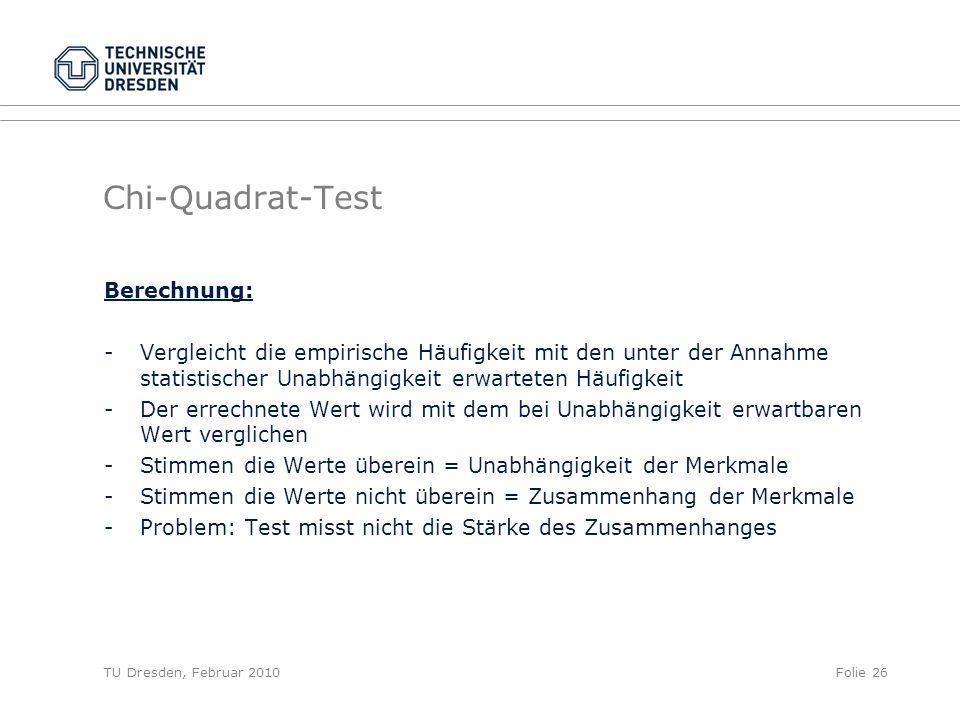 Chi-Quadrat-Test Berechnung: