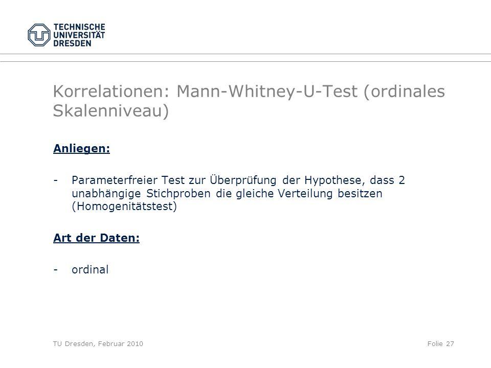Korrelationen: Mann-Whitney-U-Test (ordinales Skalenniveau)