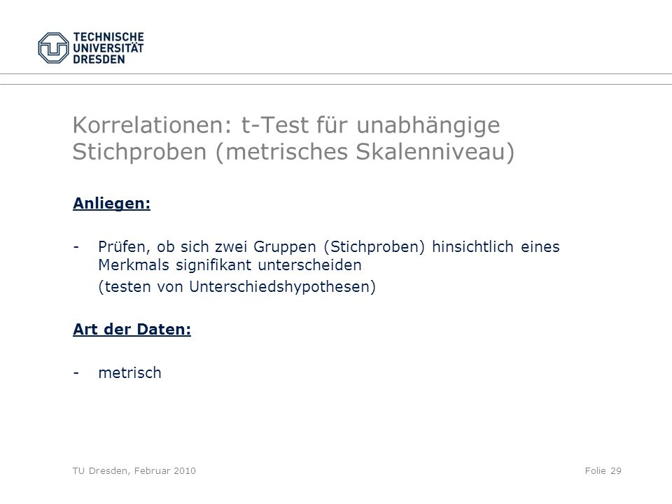 Korrelationen: t-Test für unabhängige Stichproben (metrisches Skalenniveau)