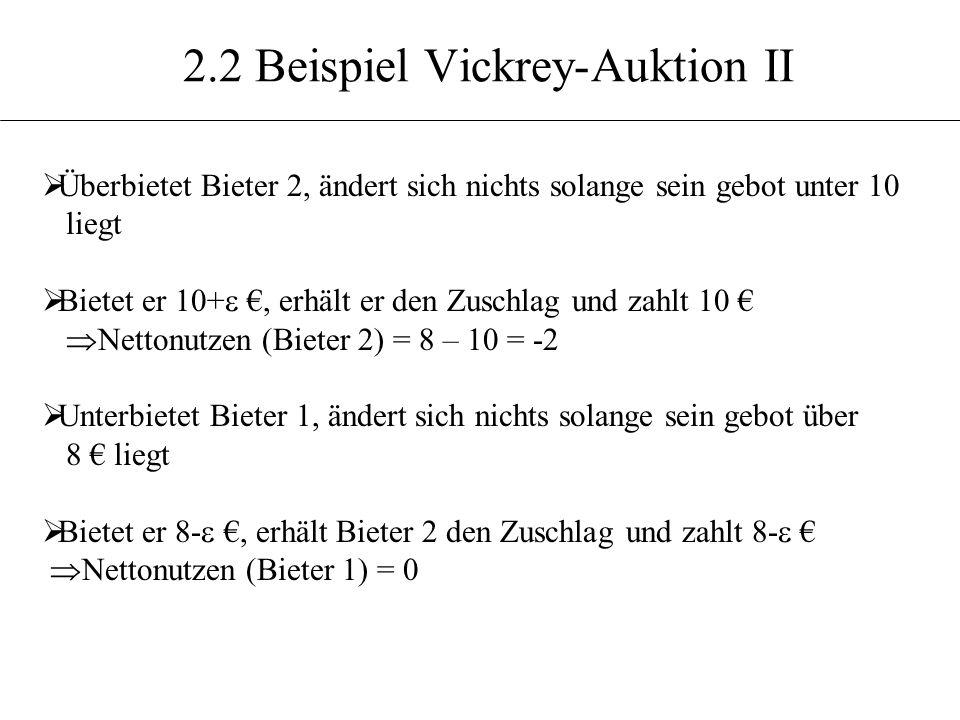 2.2 Beispiel Vickrey-Auktion II