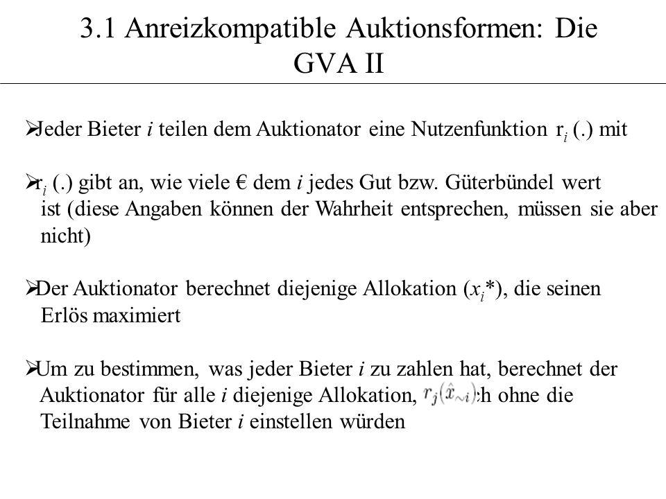 3.1 Anreizkompatible Auktionsformen: Die GVA II