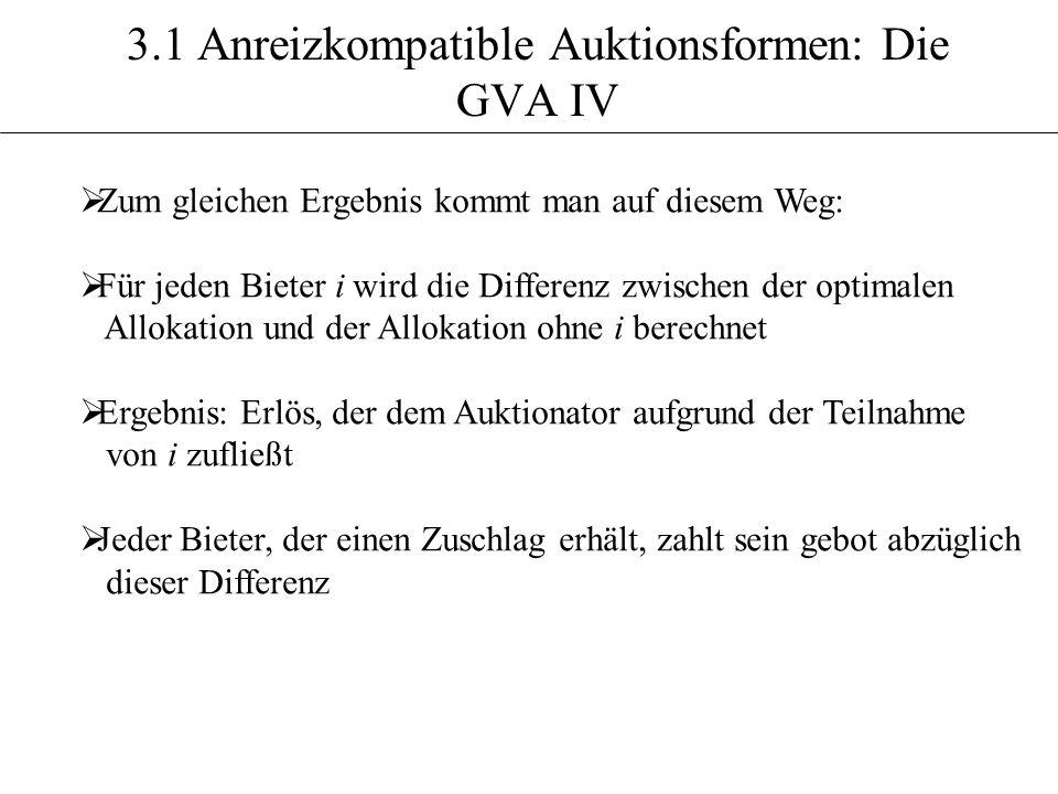 3.1 Anreizkompatible Auktionsformen: Die GVA IV