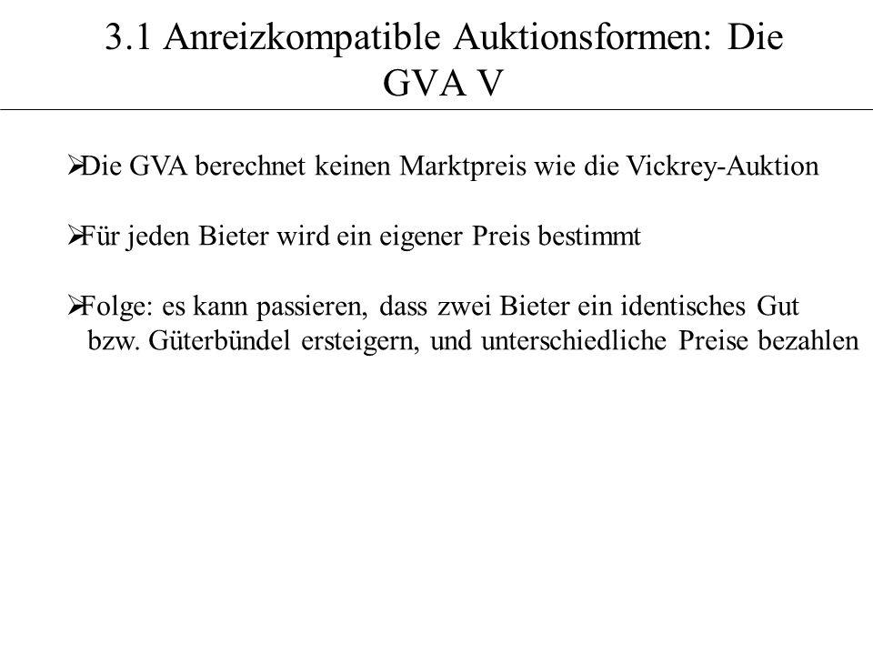 3.1 Anreizkompatible Auktionsformen: Die GVA V