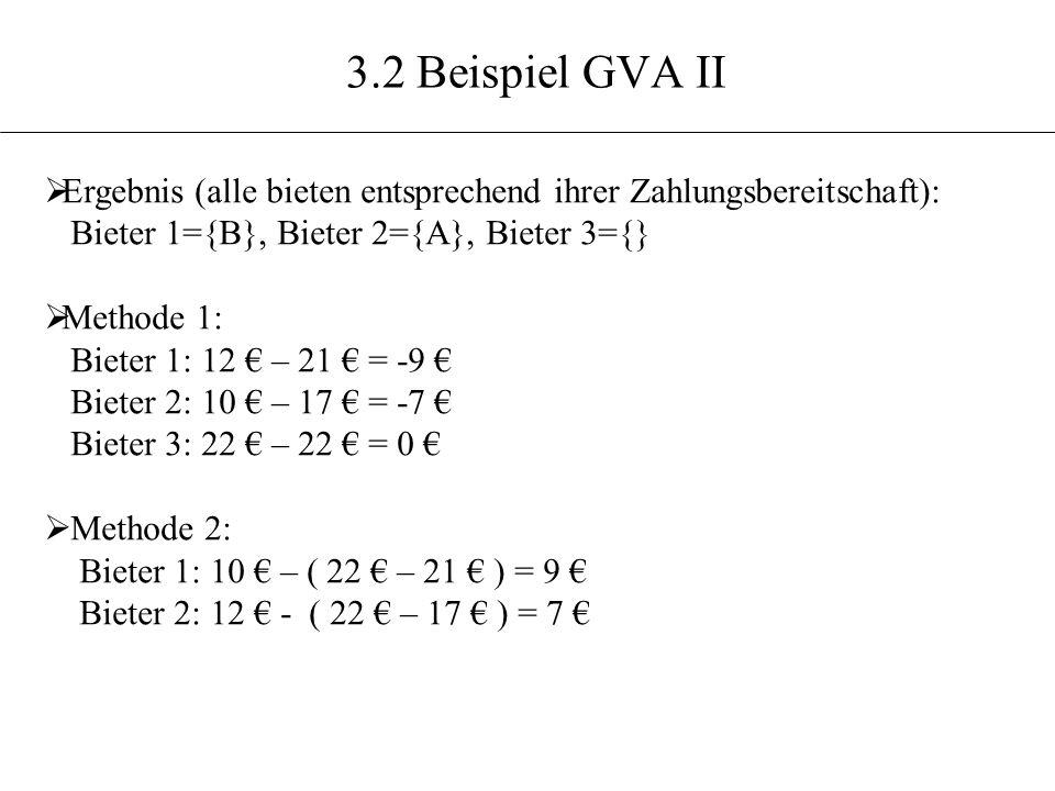 3.2 Beispiel GVA II Ergebnis (alle bieten entsprechend ihrer Zahlungsbereitschaft): Bieter 1={B}, Bieter 2={A}, Bieter 3={}