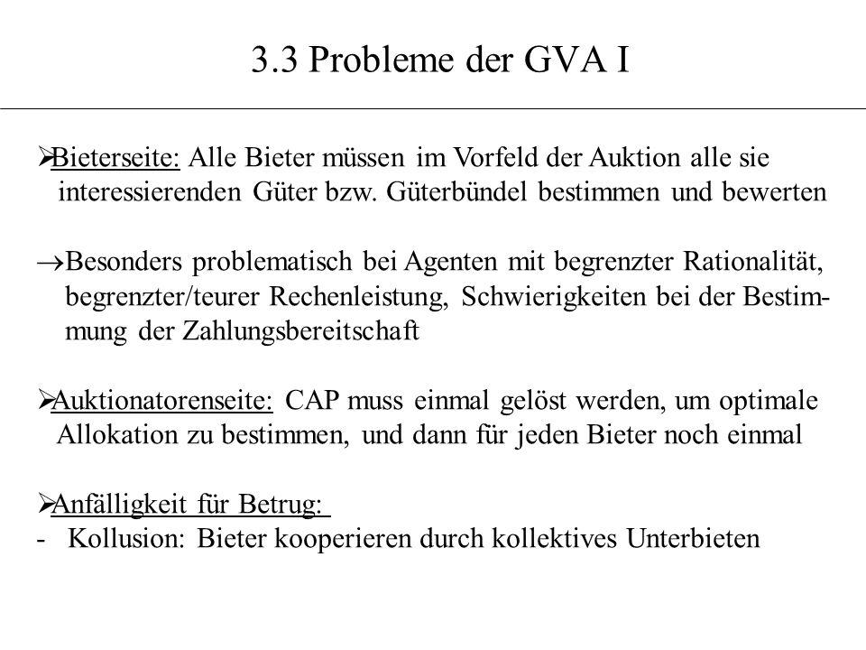 3.3 Probleme der GVA I Bieterseite: Alle Bieter müssen im Vorfeld der Auktion alle sie.