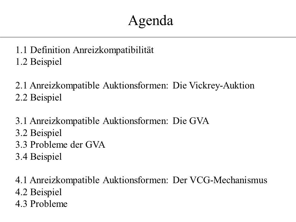 Agenda 1.1 Definition Anreizkompatibilität 1.2 Beispiel