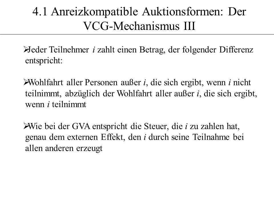 4.1 Anreizkompatible Auktionsformen: Der VCG-Mechanismus III