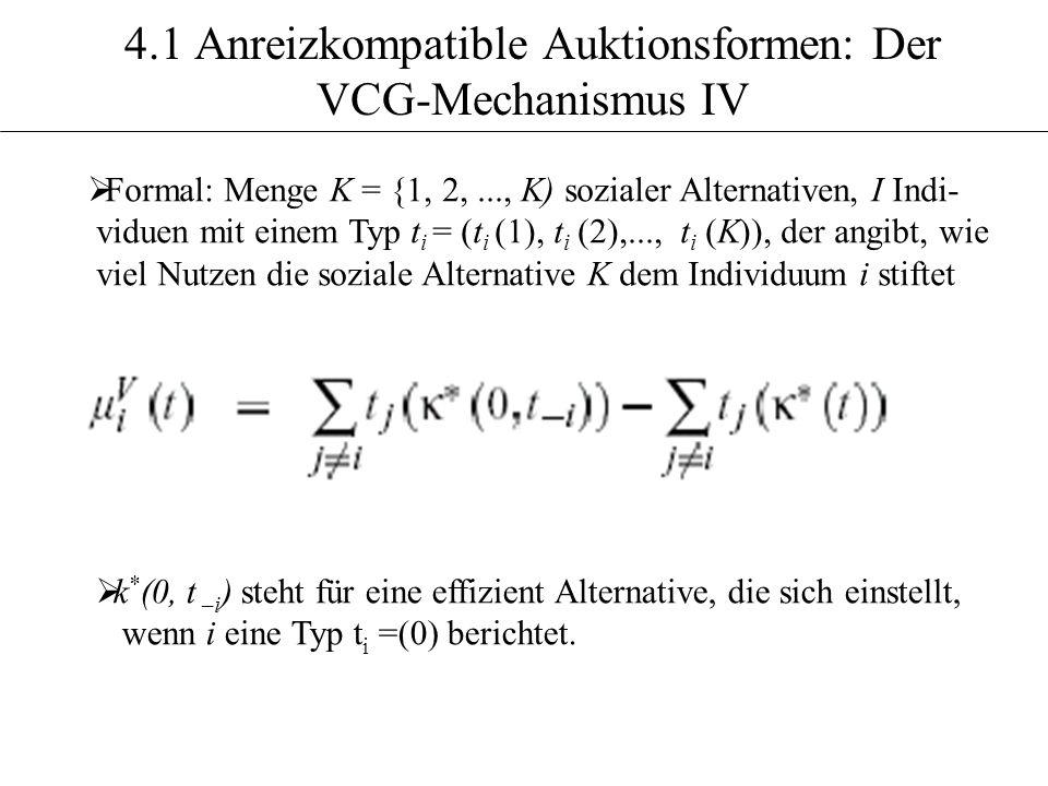 4.1 Anreizkompatible Auktionsformen: Der VCG-Mechanismus IV