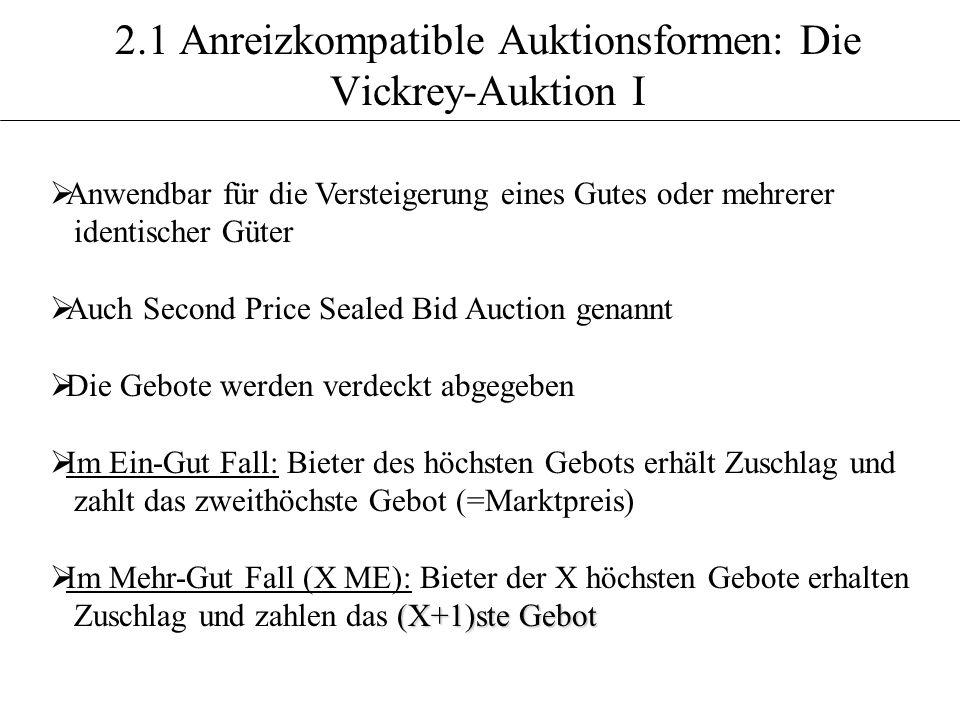 2.1 Anreizkompatible Auktionsformen: Die Vickrey-Auktion I