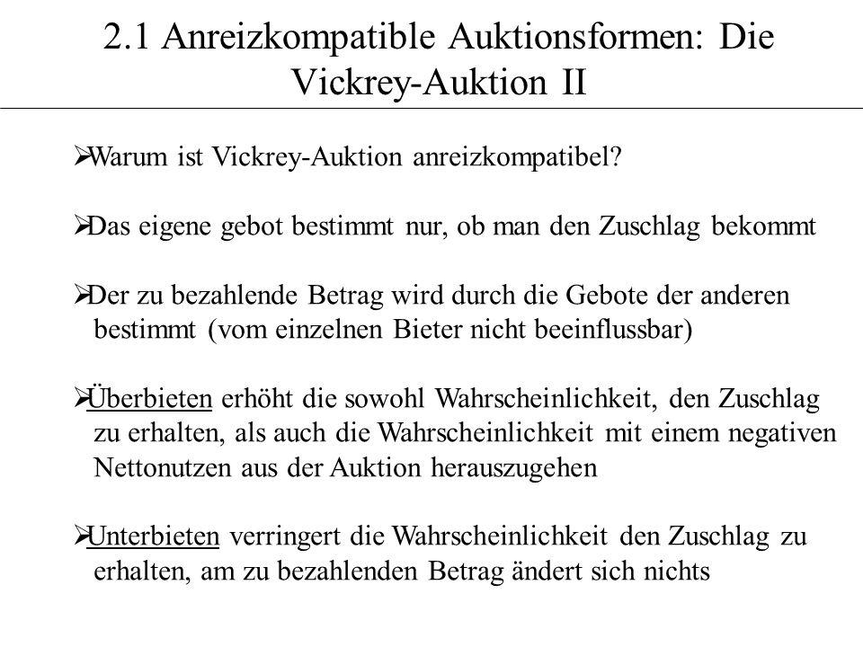 2.1 Anreizkompatible Auktionsformen: Die Vickrey-Auktion II
