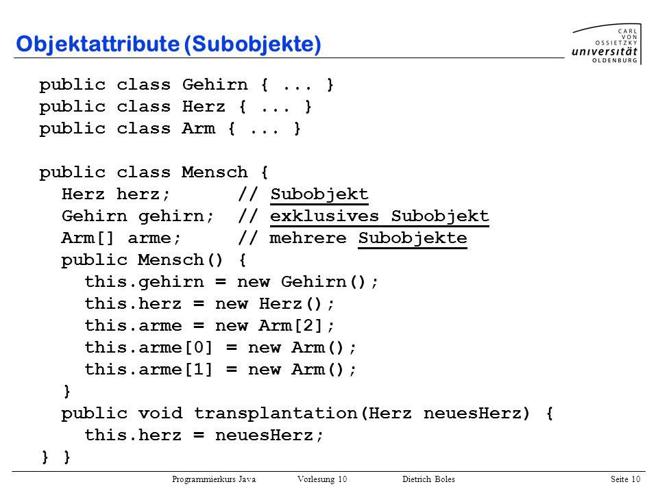 Objektattribute (Subobjekte)