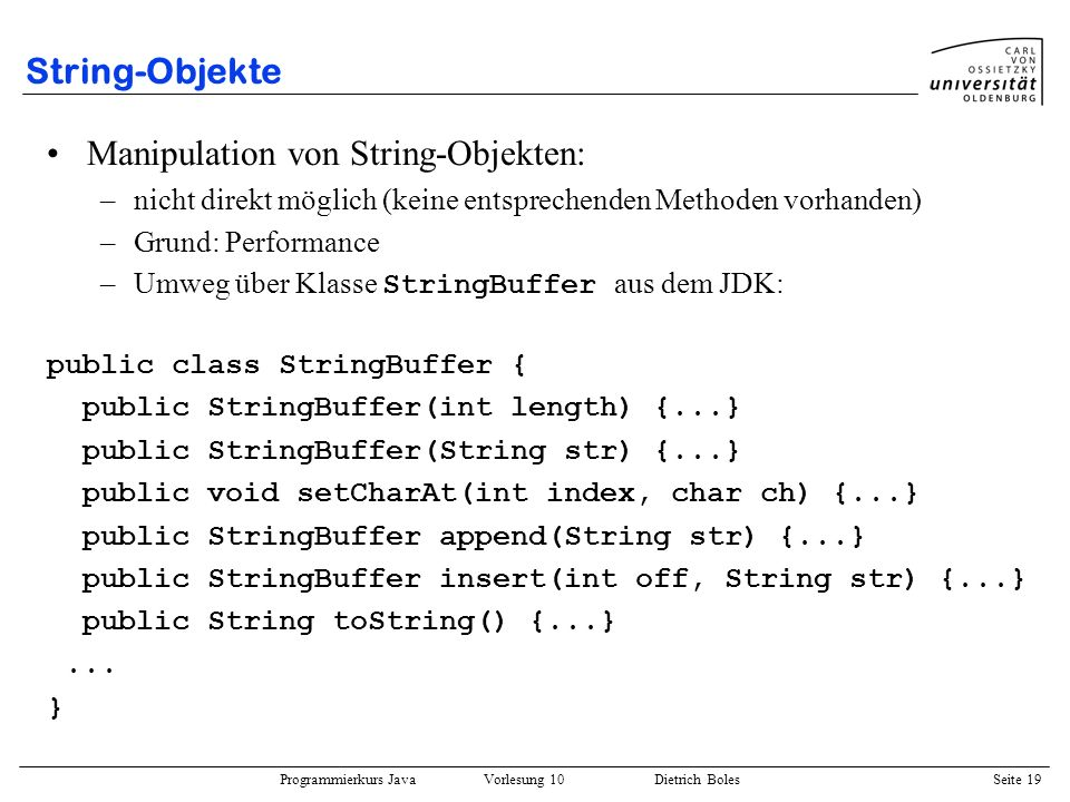Manipulation von String-Objekten: