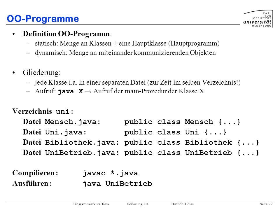 OO-Programme Definition OO-Programm: Gliederung: Verzeichnis uni: