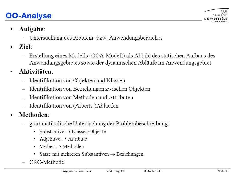 OO-Analyse Aufgabe: Ziel: Aktivitäten: Methoden: