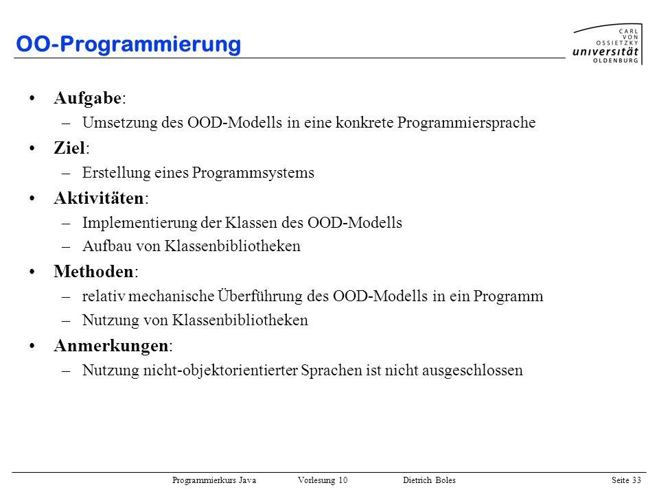 OO-Programmierung Aufgabe: Ziel: Aktivitäten: Methoden: Anmerkungen: