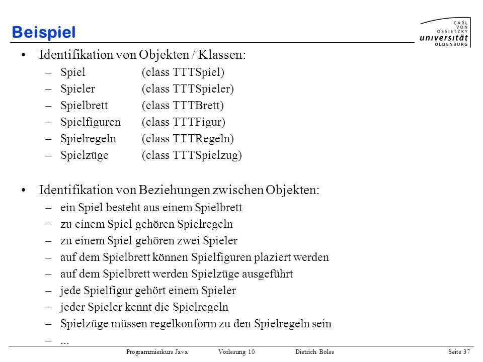 Beispiel Identifikation von Objekten / Klassen: