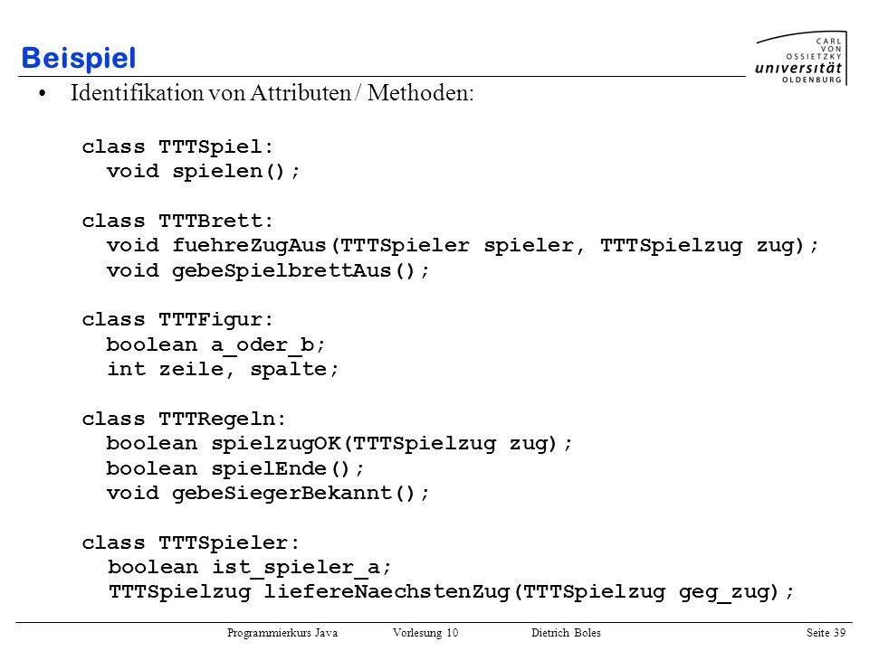 Beispiel Identifikation von Attributen / Methoden: class TTTSpiel: