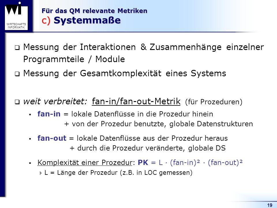 Für das QM relevante Metriken c) Systemmaße