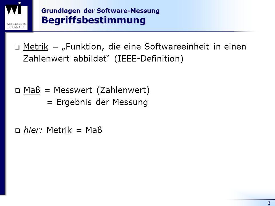 Grundlagen der Software-Messung Begriffsbestimmung