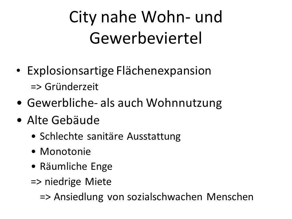 City nahe Wohn- und Gewerbeviertel