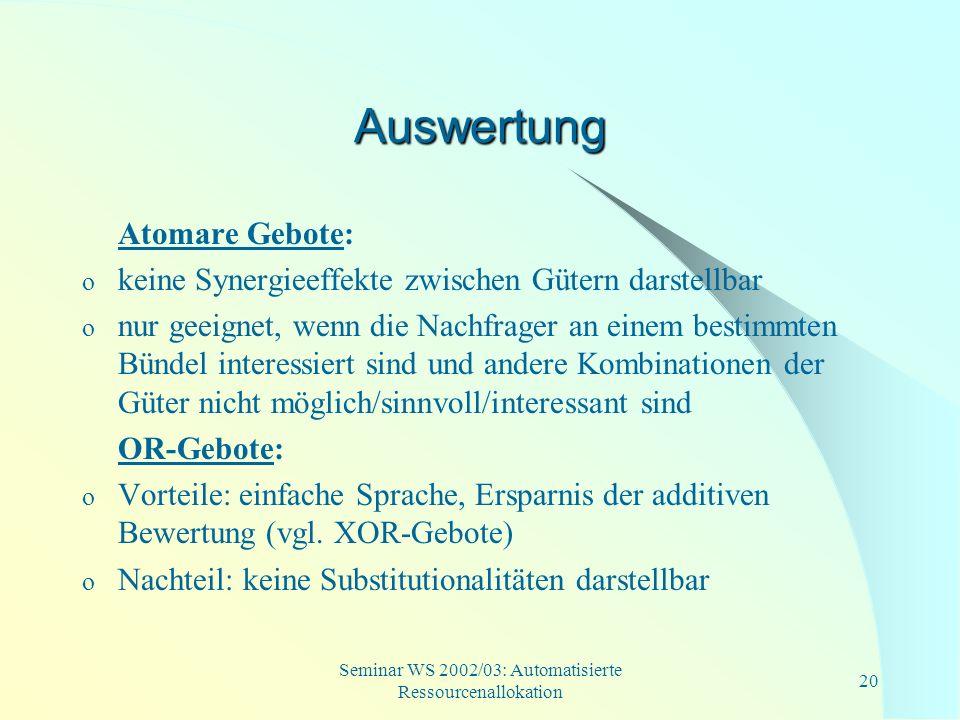 Seminar WS 2002/03: Automatisierte Ressourcenallokation