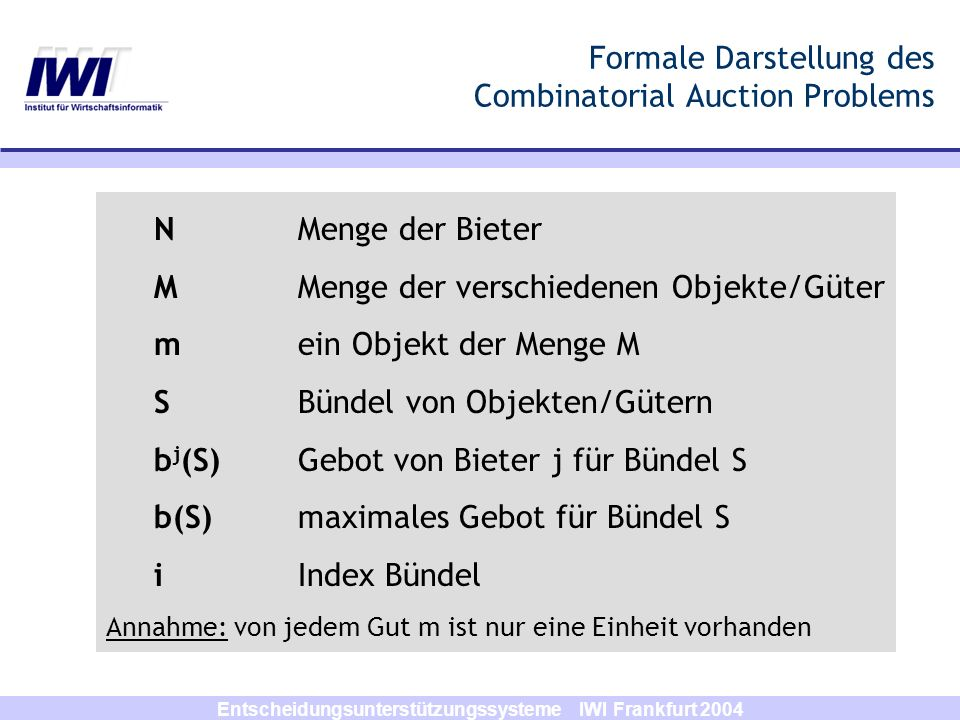 Formale Darstellung des Combinatorial Auction Problems