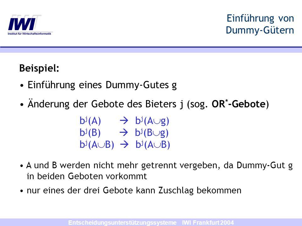 Einführung von Dummy-Gütern