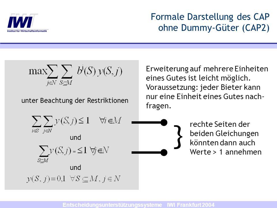 Formale Darstellung des CAP ohne Dummy-Güter (CAP2)