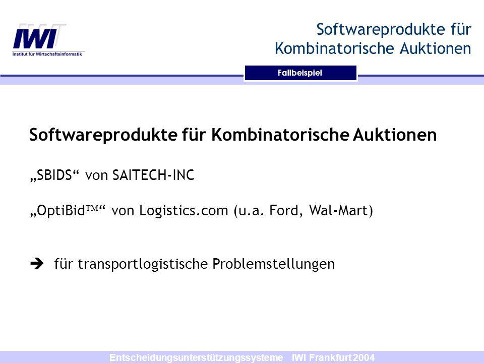 Softwareprodukte für Kombinatorische Auktionen