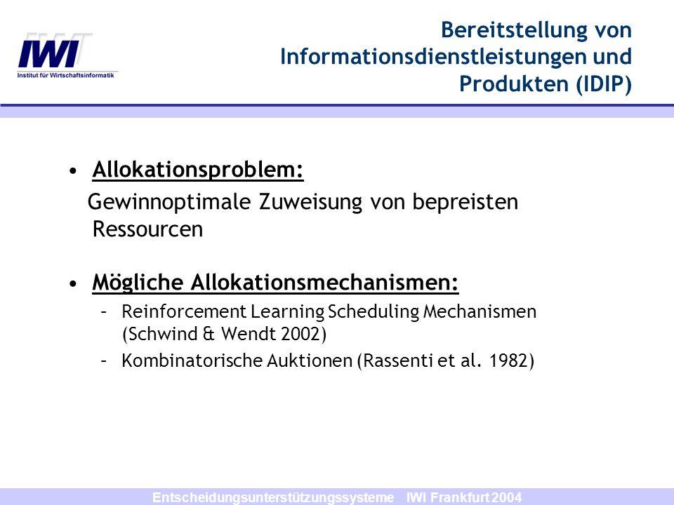 Bereitstellung von Informationsdienstleistungen und Produkten (IDIP)