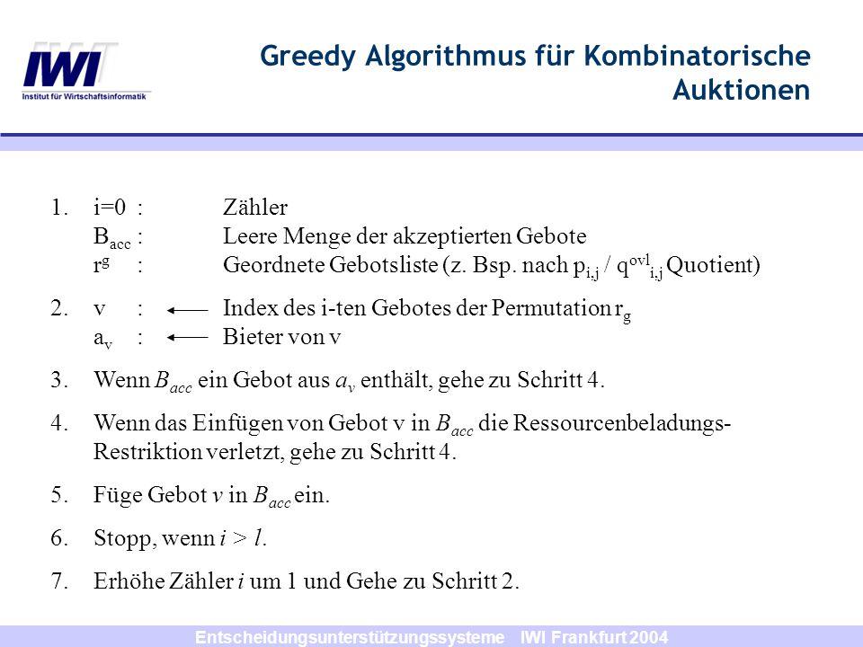 Greedy Algorithmus für Kombinatorische Auktionen
