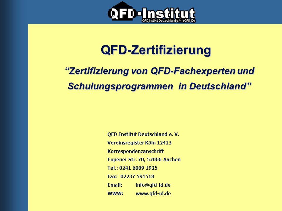 QFD-Zertifizierung Zertifizierung von QFD-Fachexperten und Schulungsprogrammen in Deutschland QFD Institut Deutschland e. V.