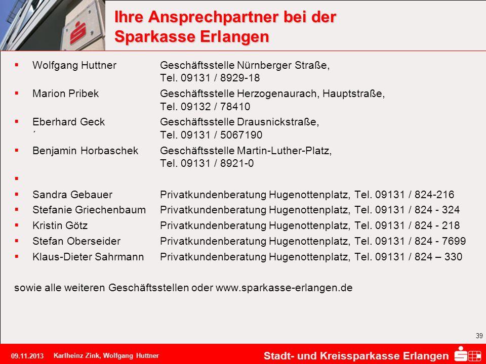 Ihre Ansprechpartner bei der Sparkasse Erlangen