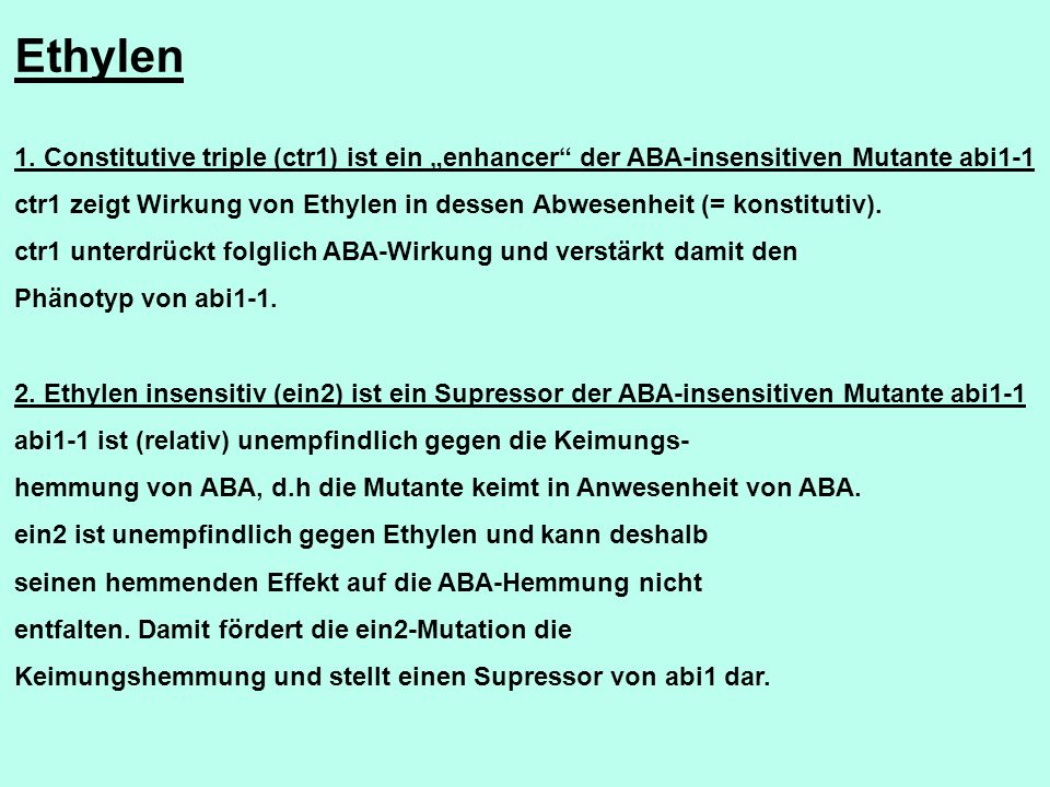 "Ethylen 1. Constitutive triple (ctr1) ist ein ""enhancer der ABA-insensitiven Mutante abi1-1."