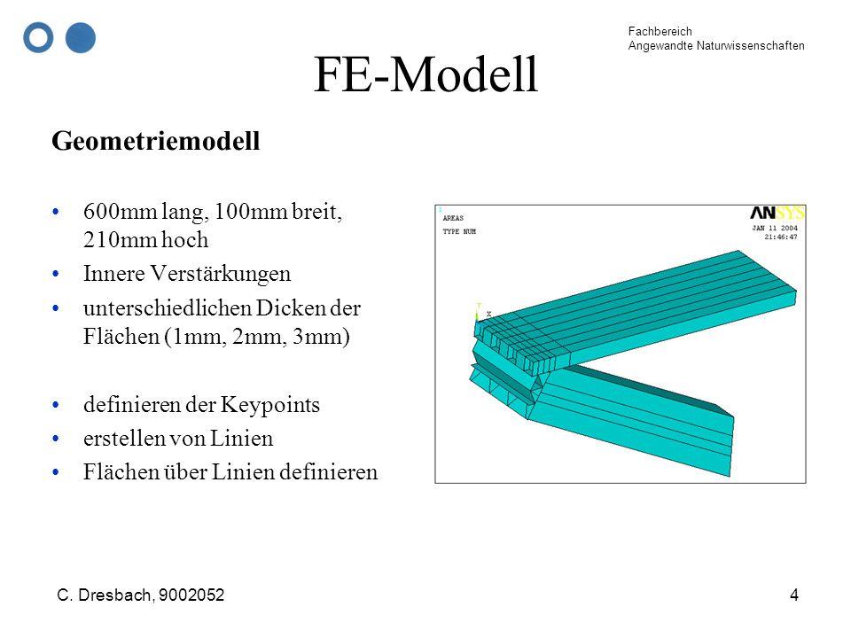 FE-Modell Geometriemodell 600mm lang, 100mm breit, 210mm hoch