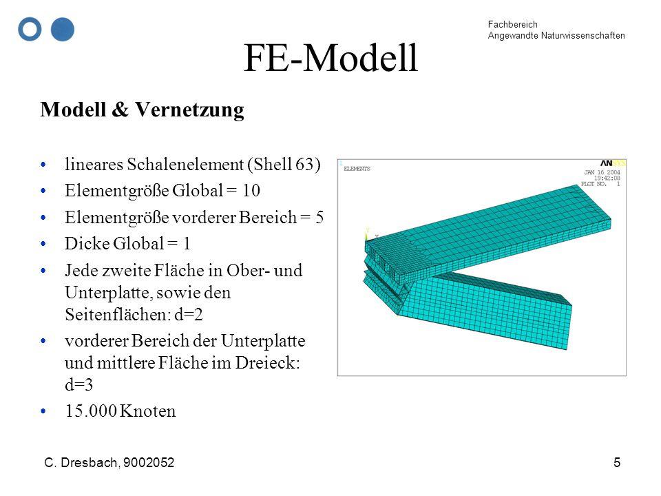 FE-Modell Modell & Vernetzung lineares Schalenelement (Shell 63)