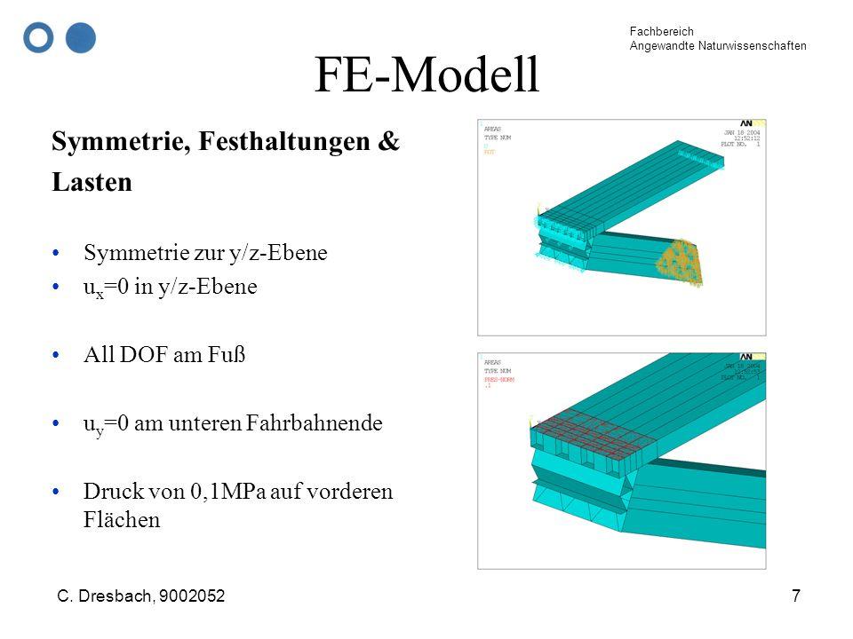FE-Modell Symmetrie, Festhaltungen & Lasten Symmetrie zur y/z-Ebene
