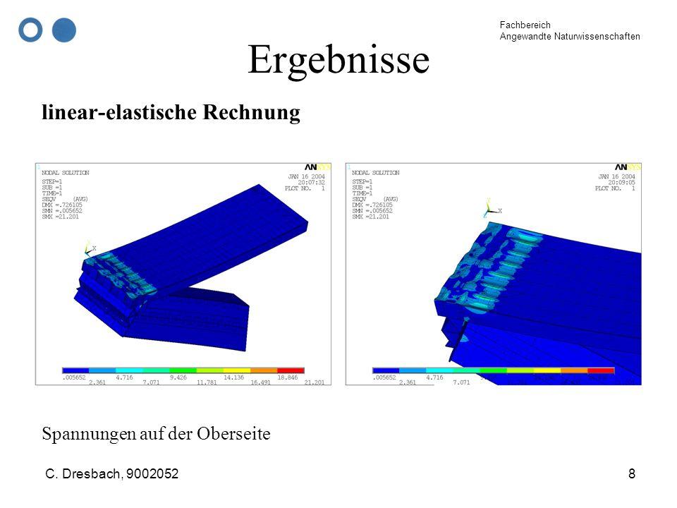Ergebnisse linear-elastische Rechnung Spannungen auf der Oberseite