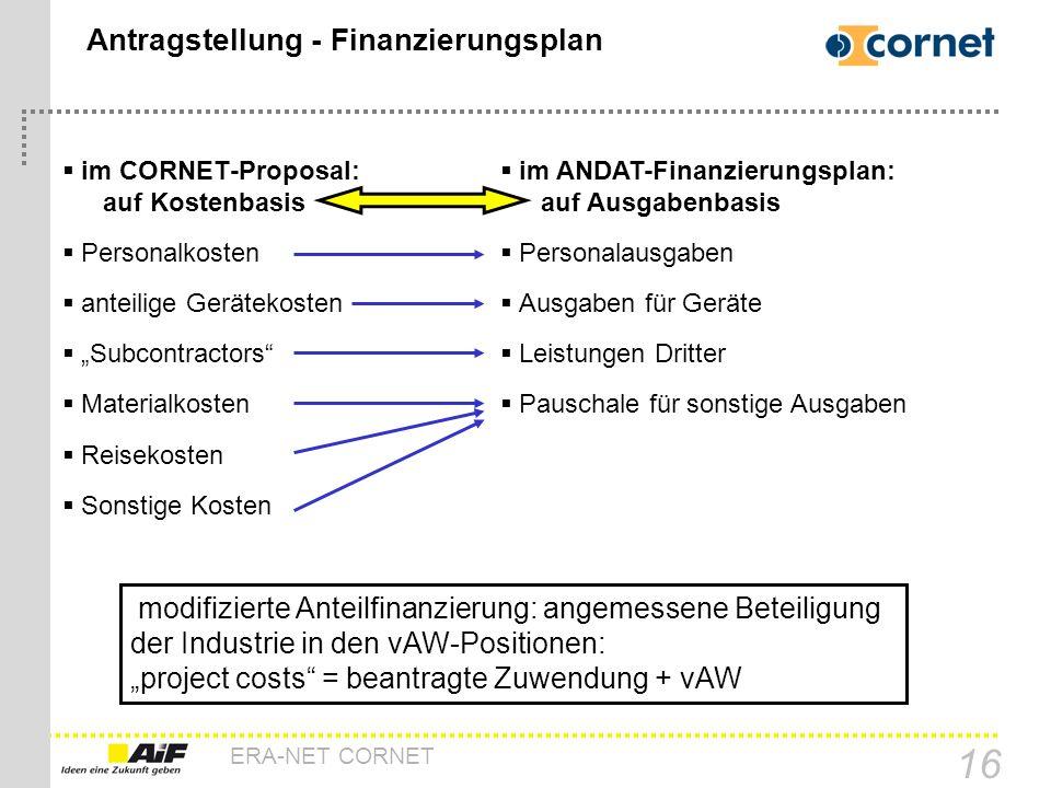 Antragstellung - Finanzierungsplan