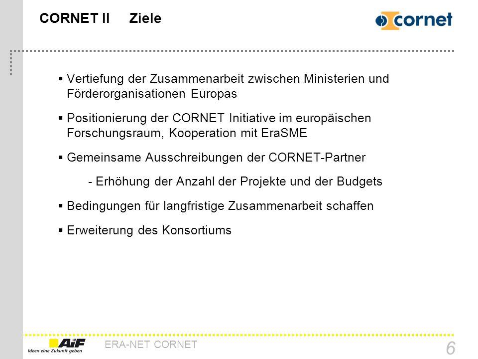 CORNET II Ziele Vertiefung der Zusammenarbeit zwischen Ministerien und Förderorganisationen Europas.