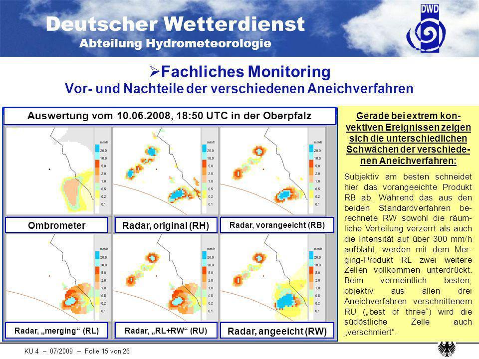 Fachliches Monitoring Vor- und Nachteile der verschiedenen Aneichverfahren