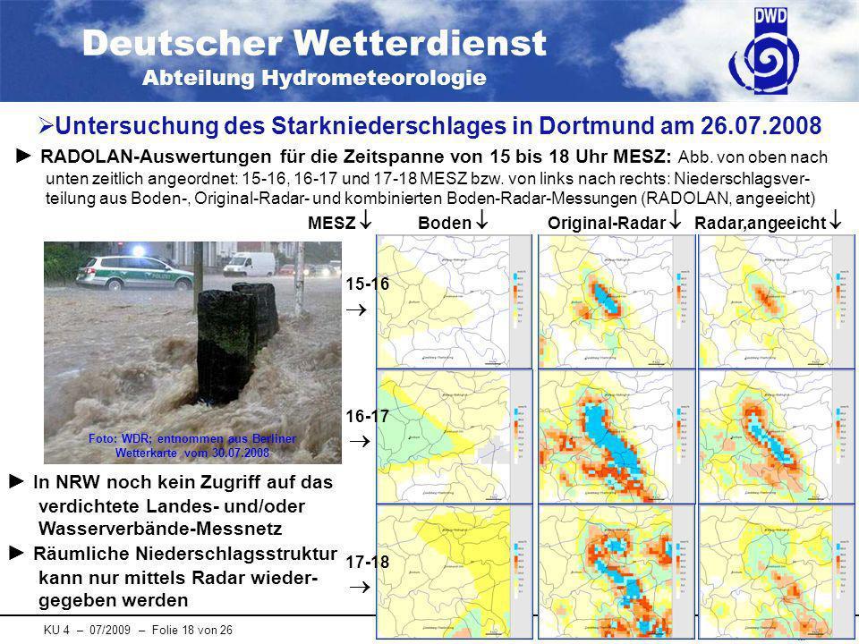 Untersuchung des Starkniederschlages in Dortmund am 26.07.2008