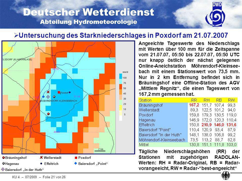 Untersuchung des Starkniederschlages in Poxdorf am 21.07.2007
