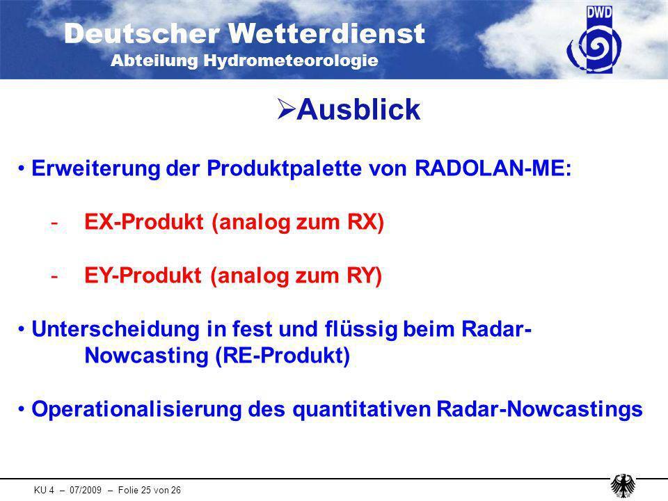 Ausblick Erweiterung der Produktpalette von RADOLAN-ME: