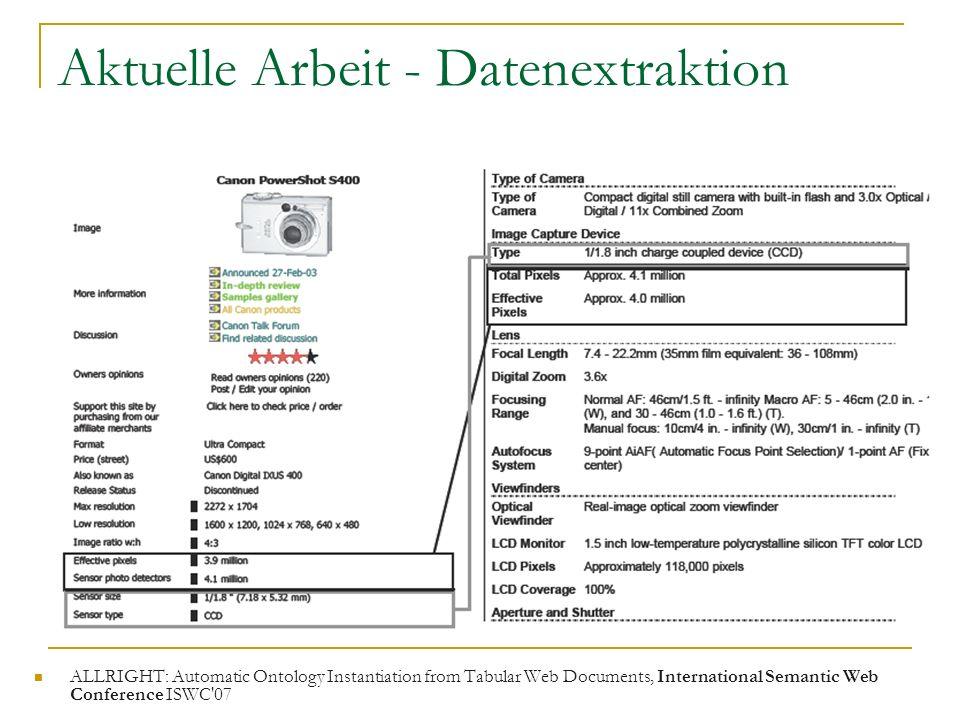 Aktuelle Arbeit - Datenextraktion