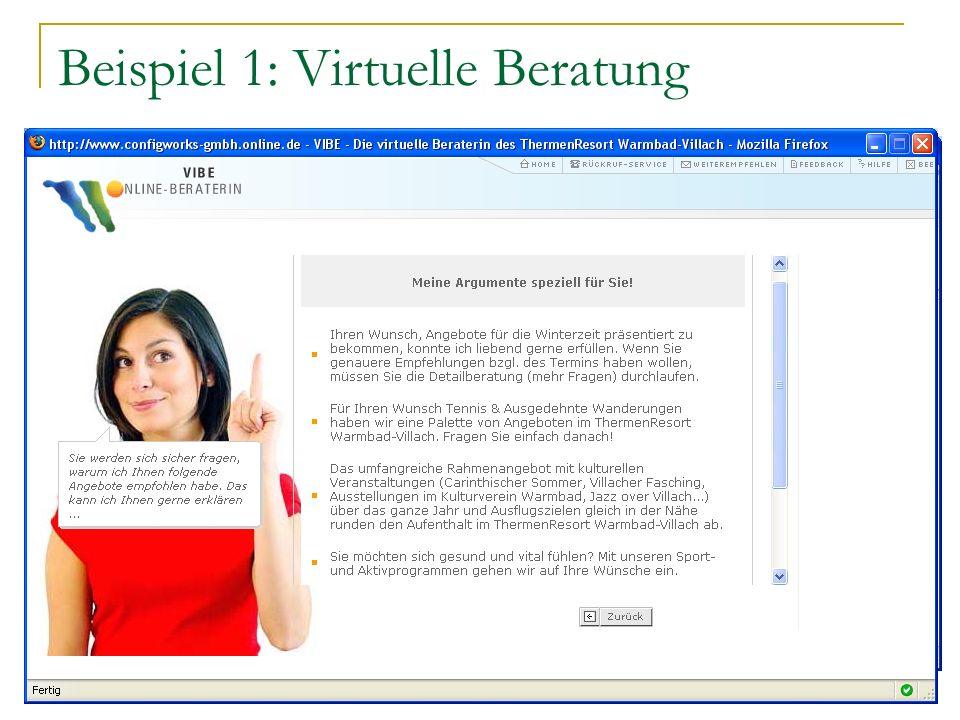 Beispiel 1: Virtuelle Beratung