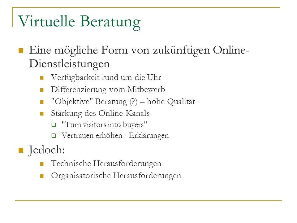 Virtuelle BeratungEine mögliche Form von zukünftigen Online-Dienstleistungen. Verfügbarkeit rund um die Uhr.