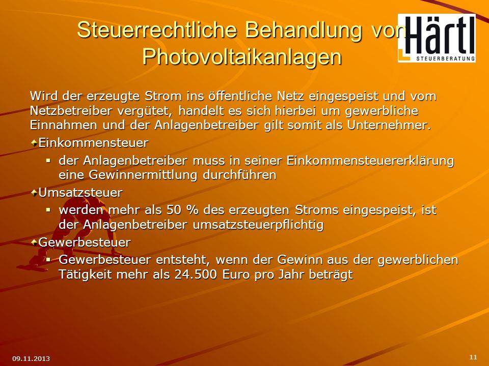 Steuerrechtliche Behandlung von Photovoltaikanlagen