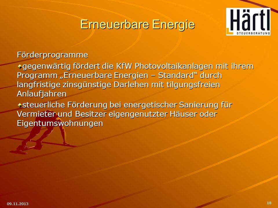 Erneuerbare Energie Förderprogramme