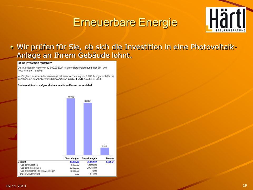 Erneuerbare Energie Wir prüfen für Sie, ob sich die Investition in eine Photovoltaik-Anlage an Ihrem Gebäude lohnt.